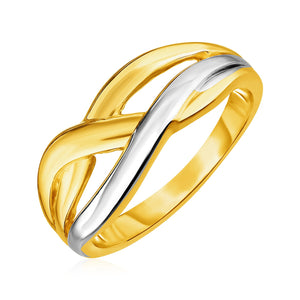 14k Two Tone Gold Braid Motif Ring
