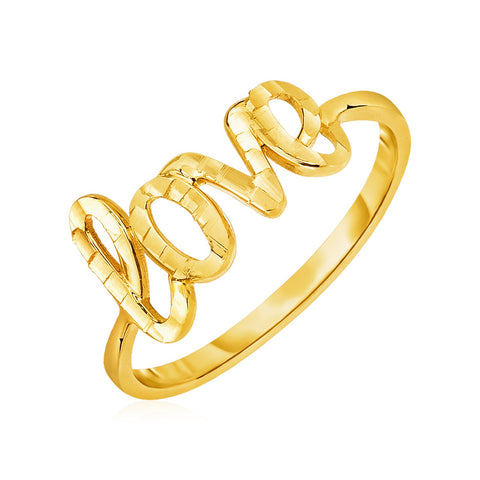 14k Yellow Gold Ring with Love