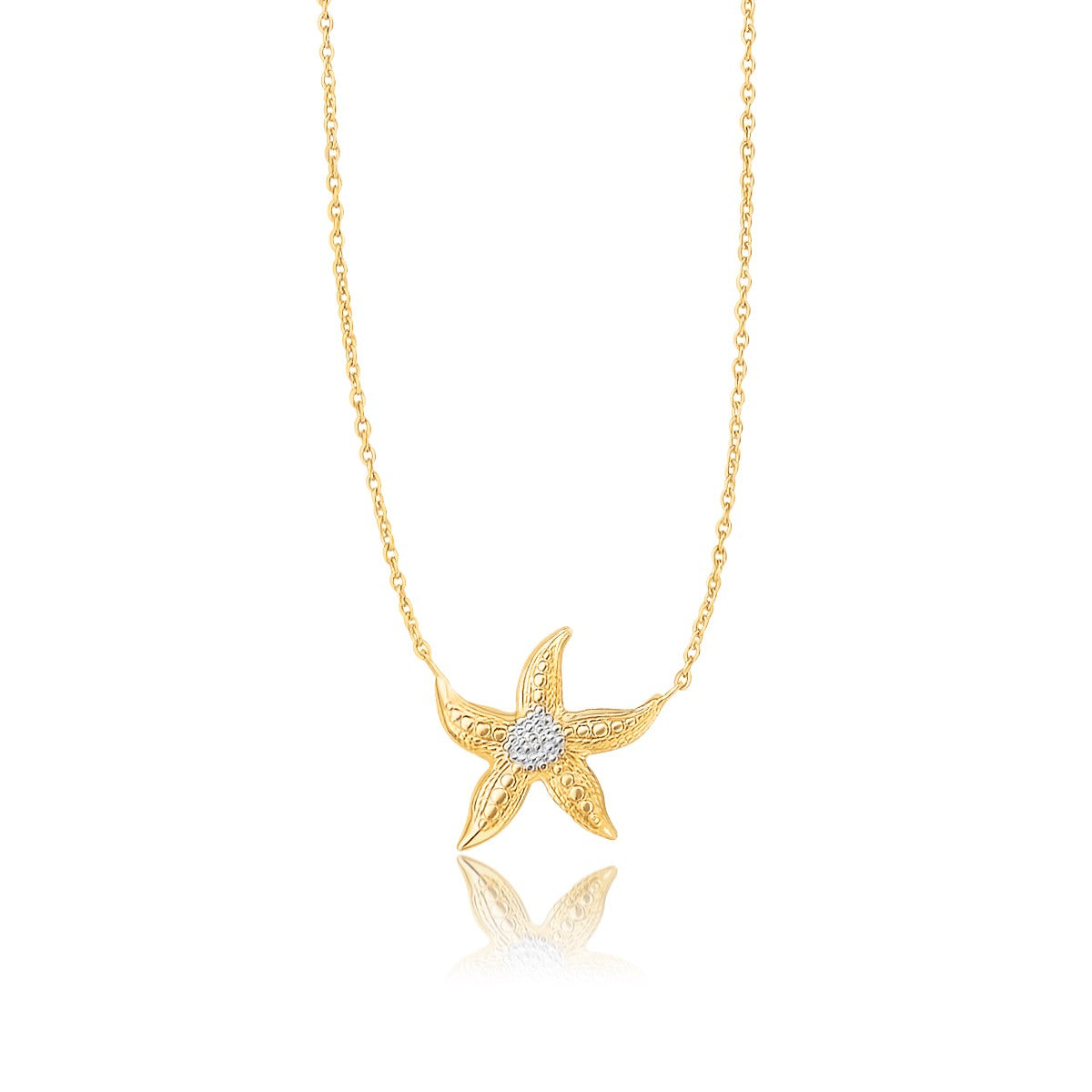 Sea Life Starfish Necklace in 14k Two-Tone Gold