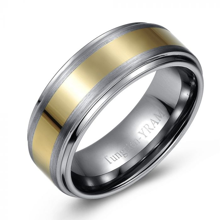 Gold Plate Inlay Tungsten Ring