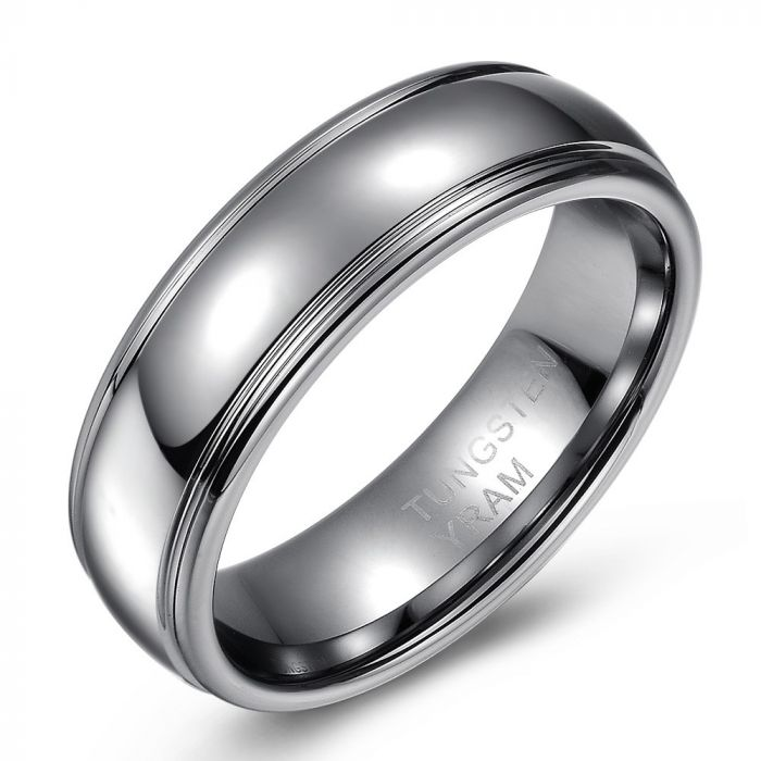 High Polish Tungsten Ring with Intricate Edges