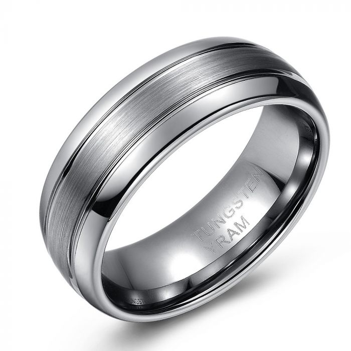 Double Lined with Brushed Centre Tungsten Ring