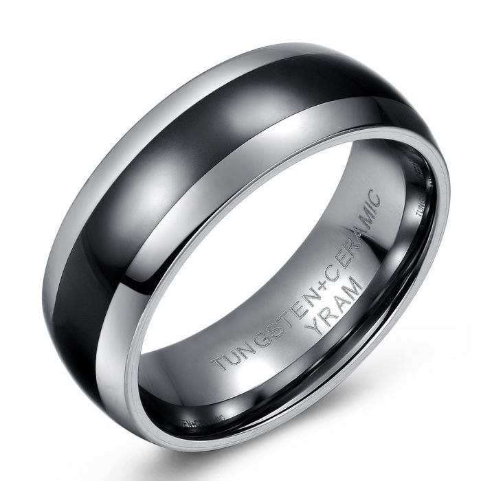Domed Black Ceramic and Tungsten Ring
