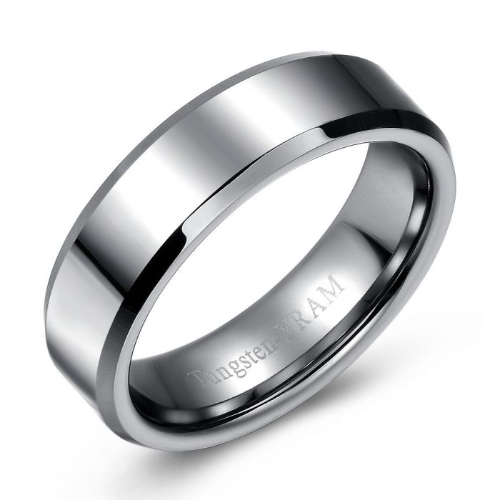 Flat Top Tapered Edge Tungsten Ring - 7mm