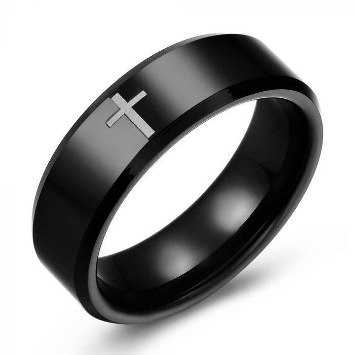 Black Tungsten Cross Ring