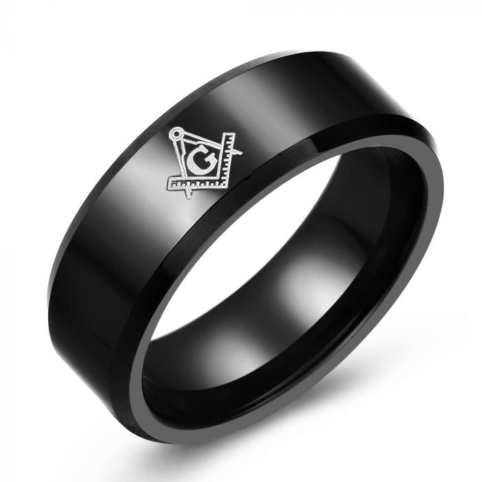 Black Tungsten Masonic Ring