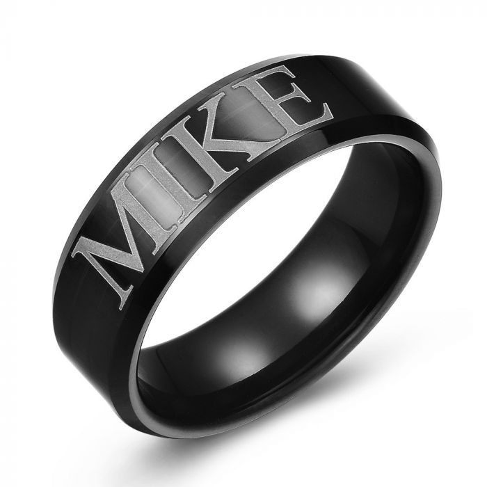 Personalized Name Black Tungsten Ring