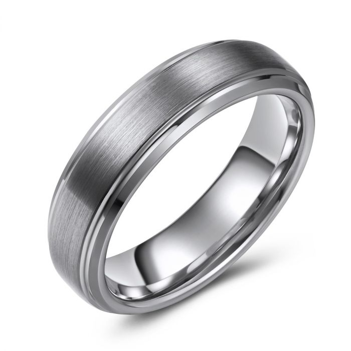 Slim Brushed Finish Tungsten Ring - 6mm
