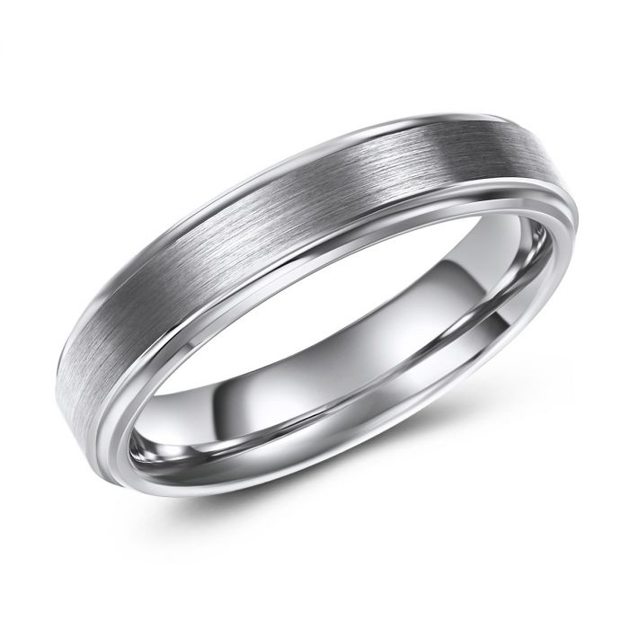 Slim Brushed Finish Tungsten Ring - 5mm