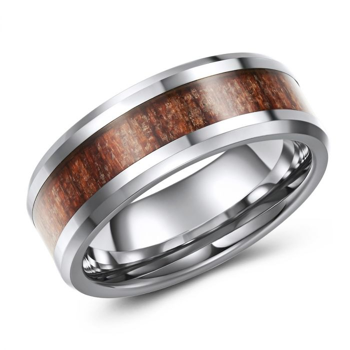 Wood Grain Inlay Tungsten Ring