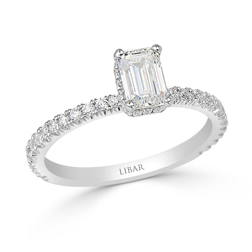 Emerald Cut Hidden Halo Pavé Set Ladies Diamond Engagement Ring
