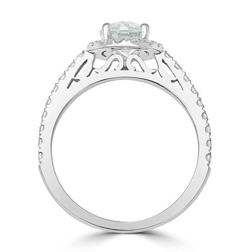 French Pavé Set Oval Halo Engagement Ring
