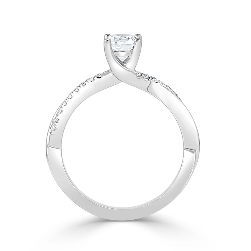 Ladies Crossover French Pavé Engagement Ring