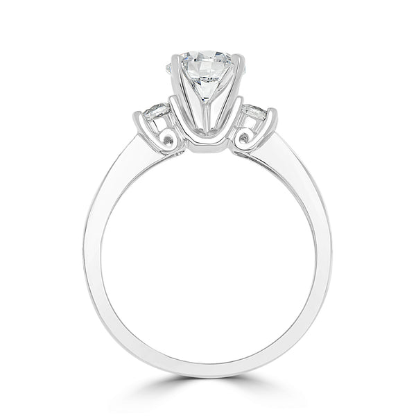 Ladies Round Diamond Engagement Ring with Pavé Shoulders