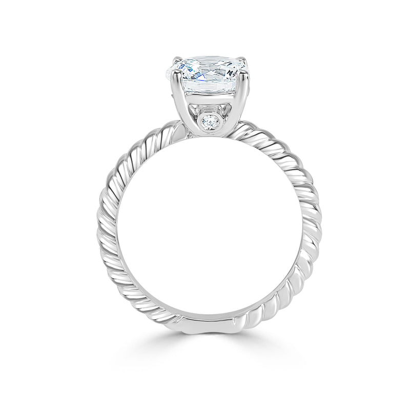 Ladies Braided Shank Four Claw Solitaire with Surprise Diamond