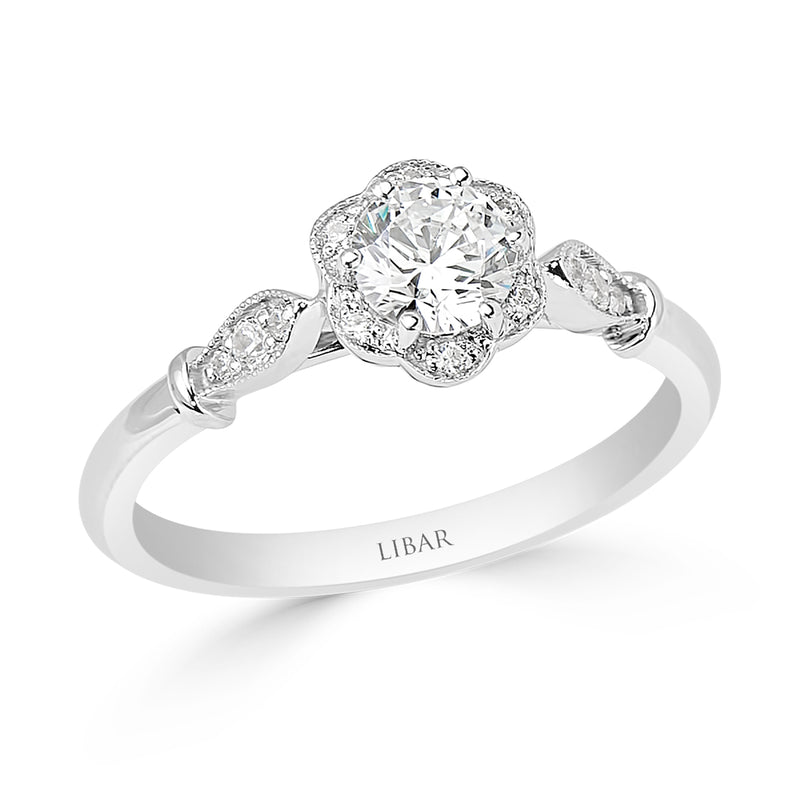 Milgrained Flower and Petal Halo Engagement Ring