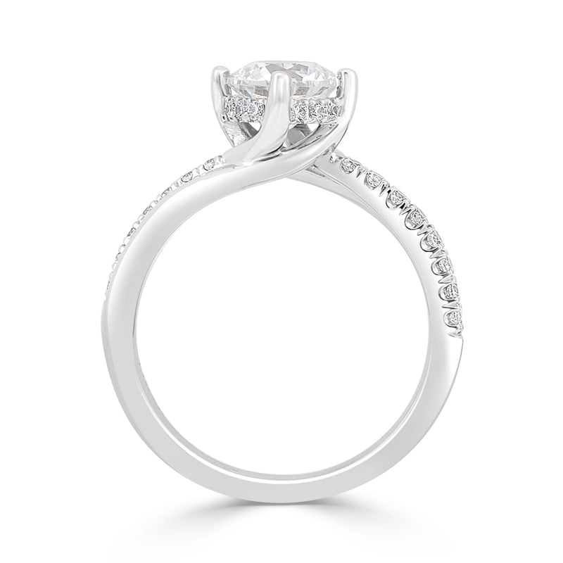 Double Row Pavé Set Hidden Halo Round Engagement Ring