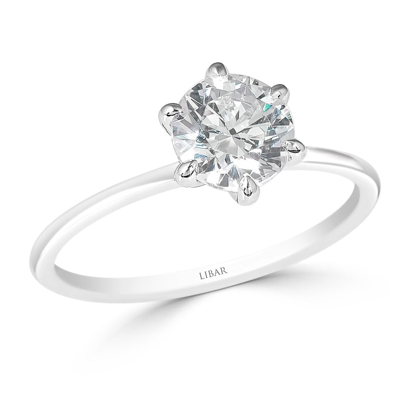 Six Claw Straight Shank Diamond Solitaire