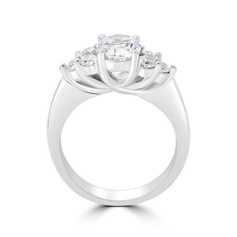 Double Gallery Cluster Diamond Engagement Ring