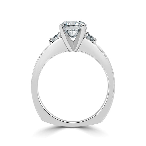 Ladies Graduated Channel Set Engagement Euro Shank Ring