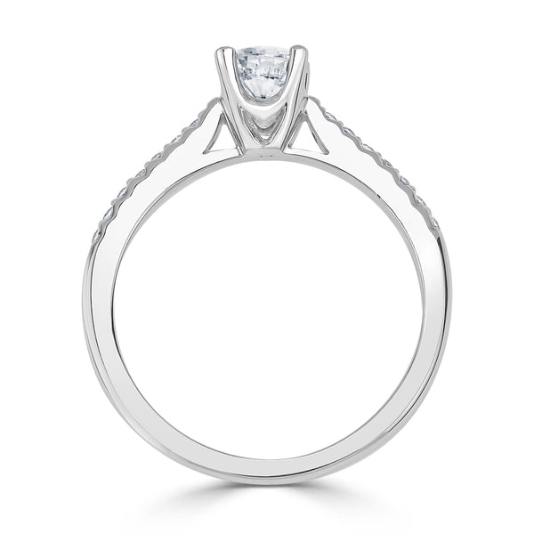 Ladies Round Diamond Micro Shared Claw Fishtail Engagement Ring