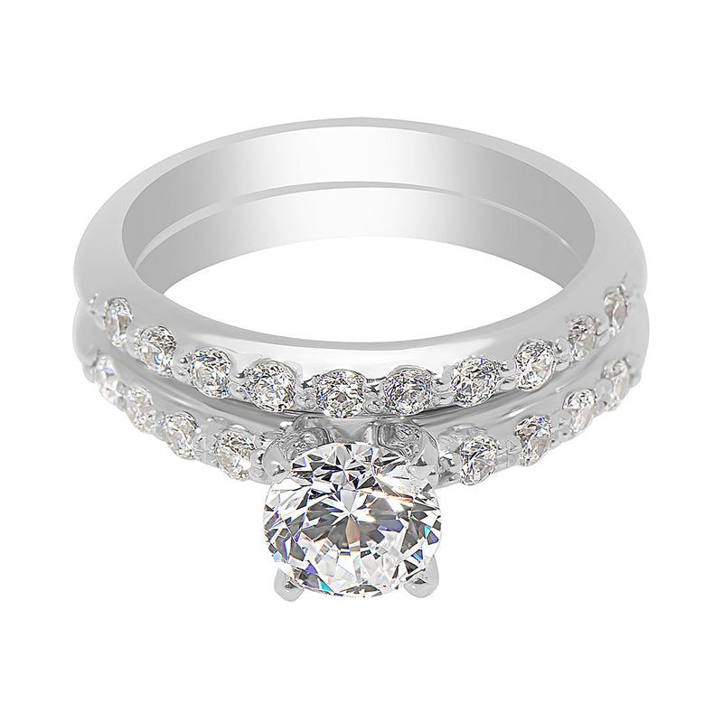 Ladies Round Diamond Knife Edge Shared Claw Set Engagement Ring