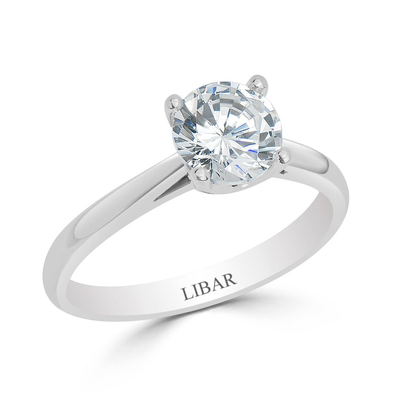 "Four Claw ""V-Gallery"" Solitaire Engagement Ring"