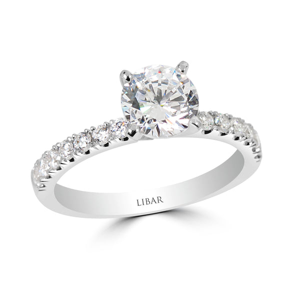 "Pavé ""U"" Set Semi Mount Round Engagement Ring"