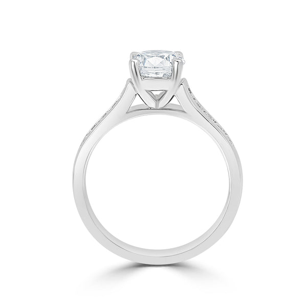 Ladies Round Center Sloped Shoulder Pavé Set Diamond Engagement Ring