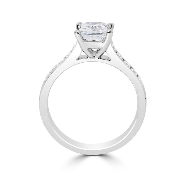 Ladies Princess Cut Sloped Shoulders Pavé Set Diamond Engagement RIng
