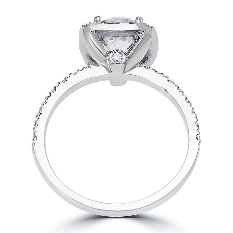 Round Center Cushion Halo French Pavé Set Engagement Ring