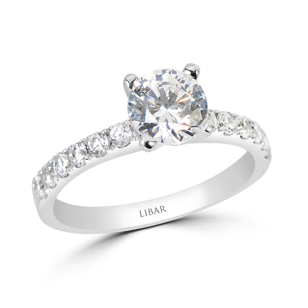 Ladies Four Prong French Pavé Diamond Engagement Ring