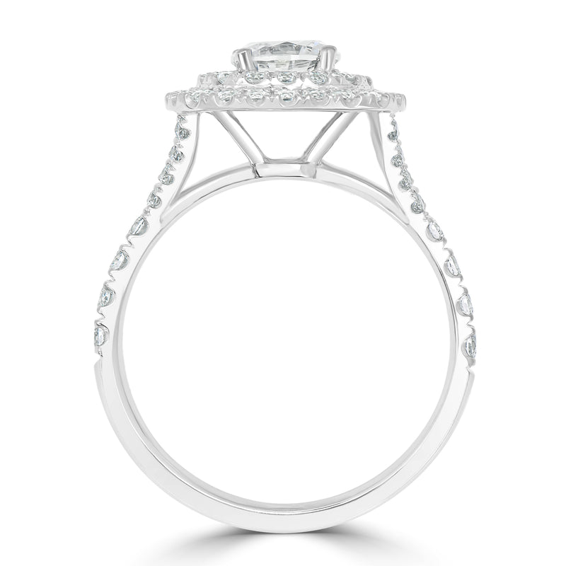 Cushion French-Pavé Set Double Halo Engagement Ring