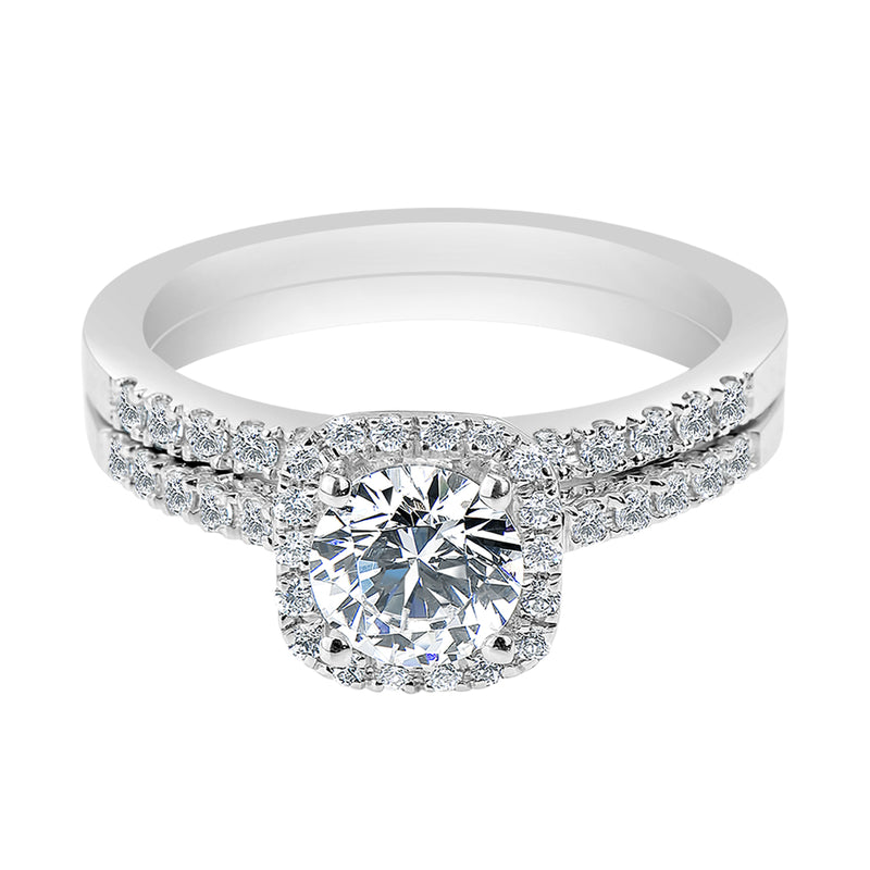 Cushion Halo French Pavé Set Engagement Ring