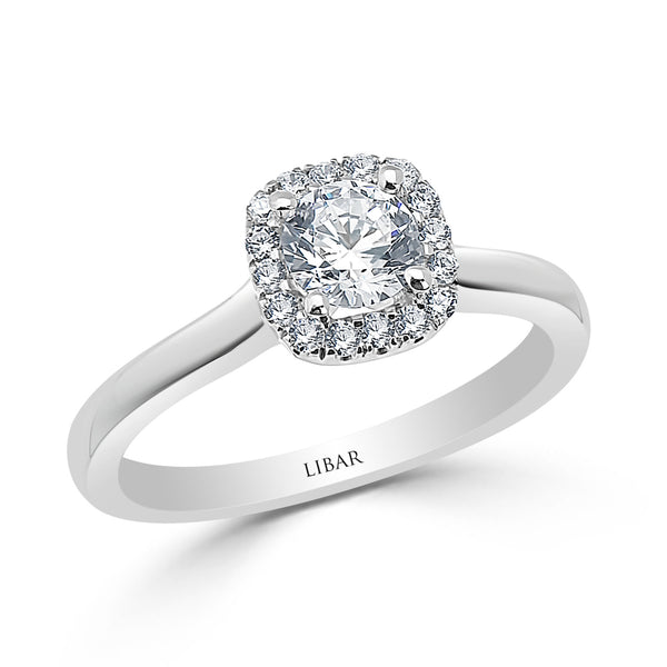 Cushion Halo French Pavé Set Graduated Engagement Ring