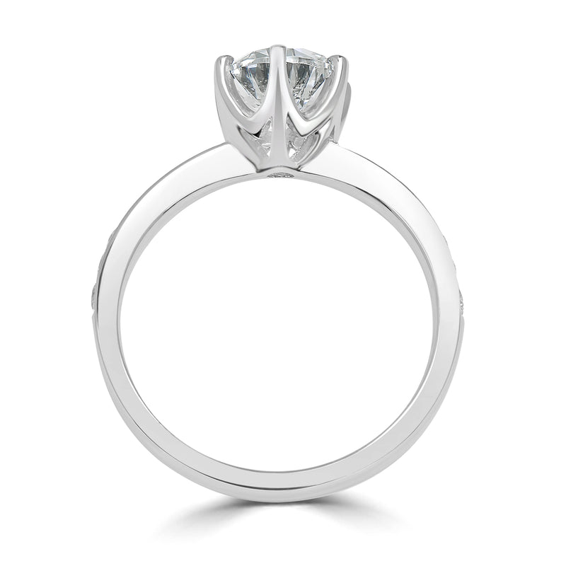 Six Claw Tapered Pavé Diamond Engagement Ring
