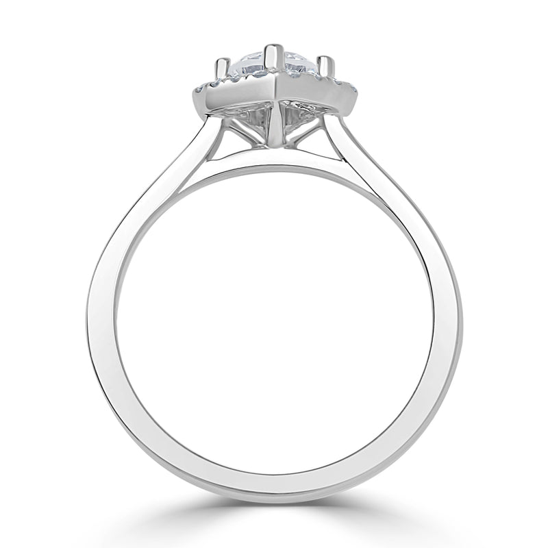 Inverted Cushion Halo Engagement Ring