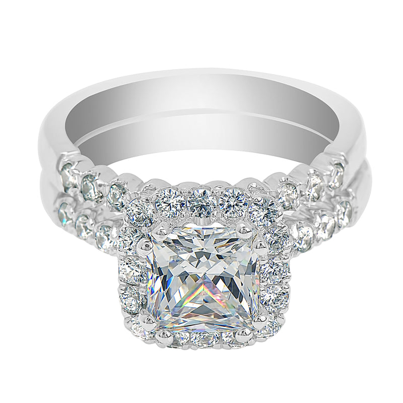Princess Cut Cushion Halo Claw Set Bubble Micro-Pavé Ring