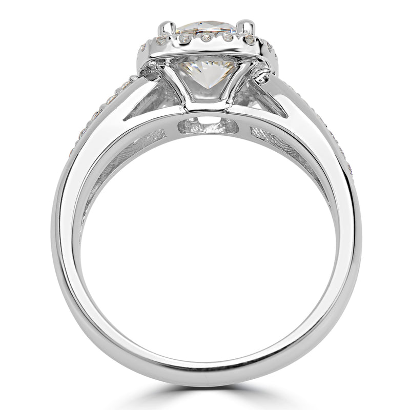 Round Cushion Halo Pavé Set Ribbon Engagement Ring