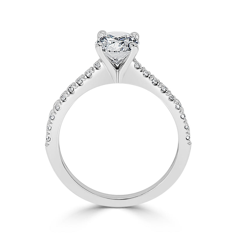 French Pavé Set Oval Engagement Ring