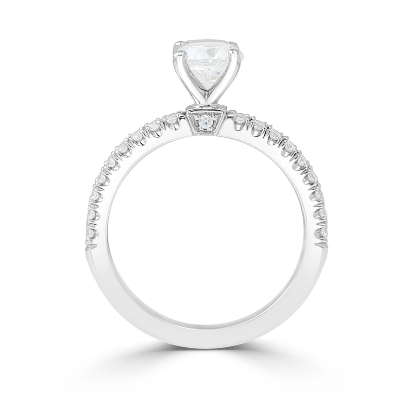 Ladies Crest Collection Four Claw French Pavé Engagement Ring