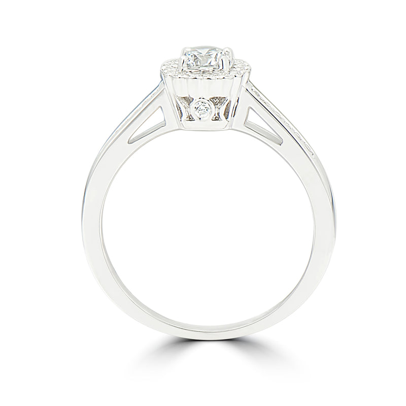 Ladies Flower Halo Diamond Engagement Ring