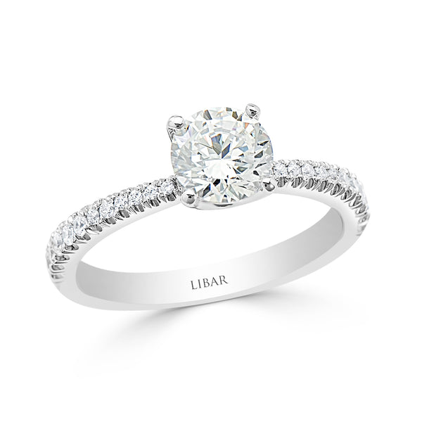 Ladies Floating Cathedral Graduated Pavé Set Diamond Engagement Ring