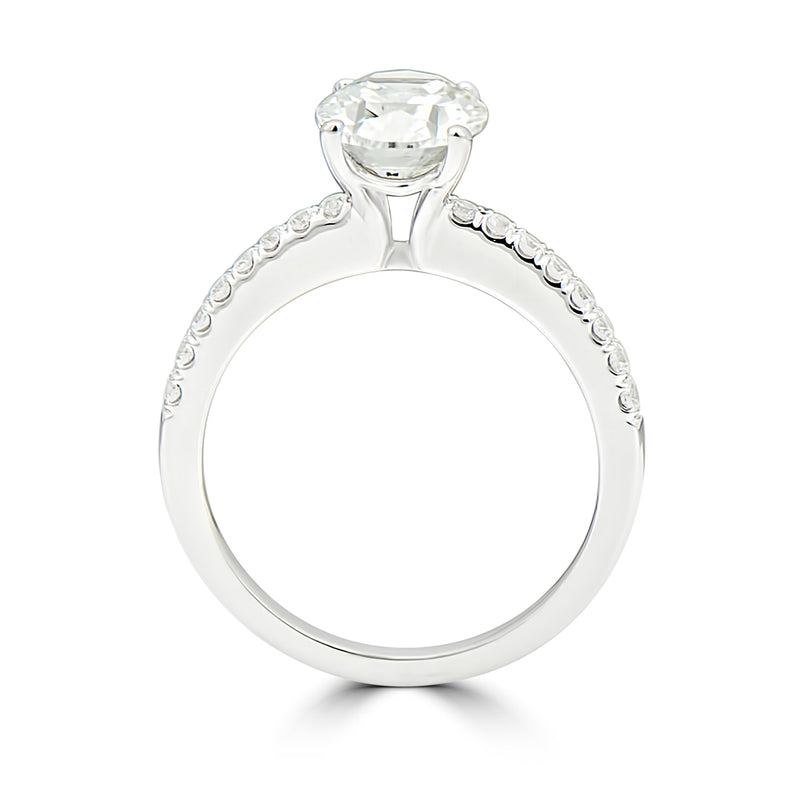Oval Center Pavé Set Engagement Ring