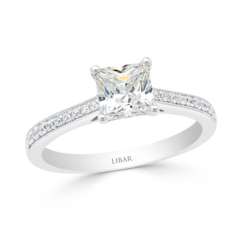 Four Claw Princess Cut Milgrained Pavé Engagement Ring