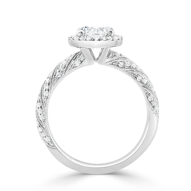 Ladies Pavé Set Twisted Milgrained Round Halo Diamond Ring