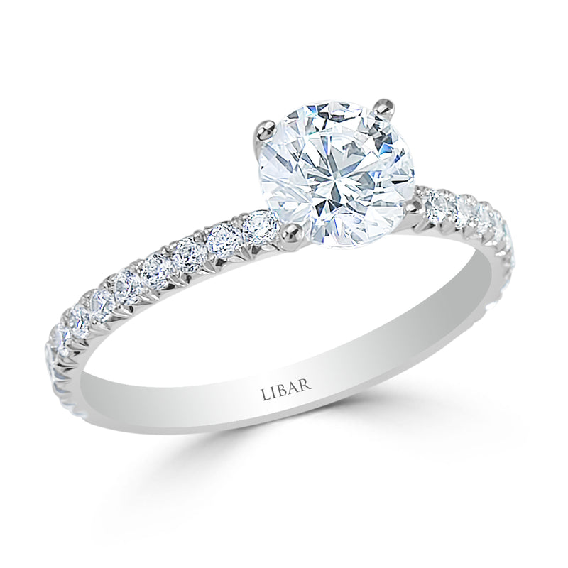 Ladies Fishtail Pavé Set Four Claw Crossover Engagement Ring
