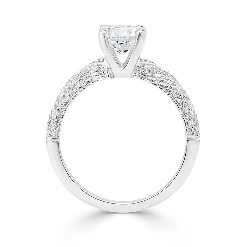 Ladies Crisscross Pattern Milgrained Diamond Engagement Ring