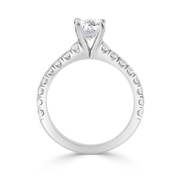 Ladies Oval For Claw Pavé Set Engagement Ring