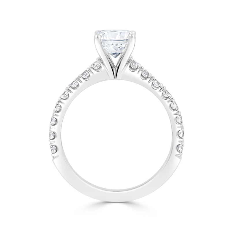Ladies Round for Claw Pavé Set Engagement Ring
